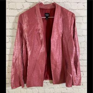 Eileen Fisher Metallic Pink Open Front Jacket Sz S